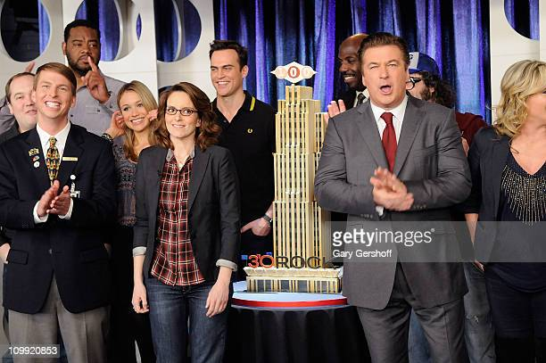 Cast members Jack McBrayer Katrina Bowden Tina Fey Cheyenne Jackson and Alec Baldwin attend the 30 Rock 100th Episode Celebration at Silver Cup...