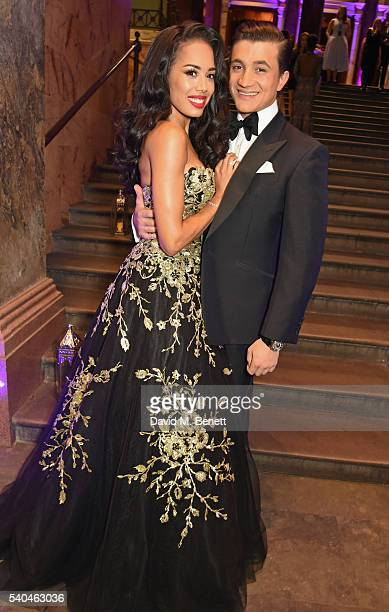 Cast members Jade Ewen and Dean JohnWilson attend the press night after party for Disney's Aladdin at The National Gallery on June 15 2016 in London...