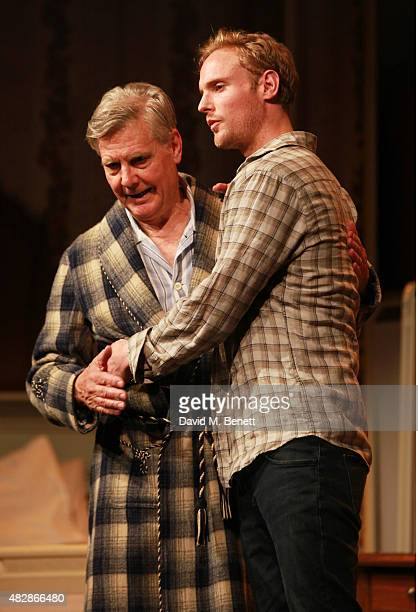 Cast members James Fox and Jack Fox bow at the curtain call during the press night performance of Dear Lupin at The Apollo Theatre on August 3 2015...