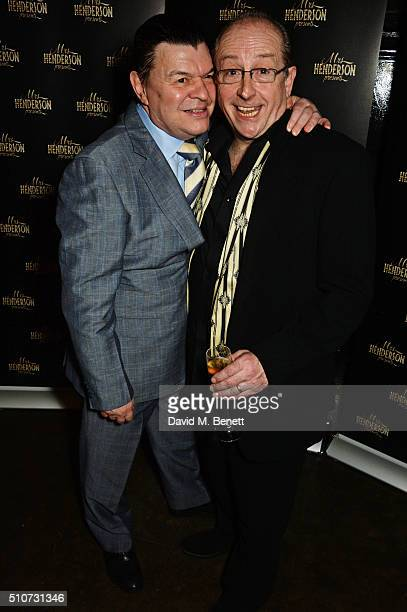 """Cast members Jamie Foreman and Ian Bartholomew attend the press night after party for """"Mrs Henderson Presents"""" at The National Cafe on February 16,..."""
