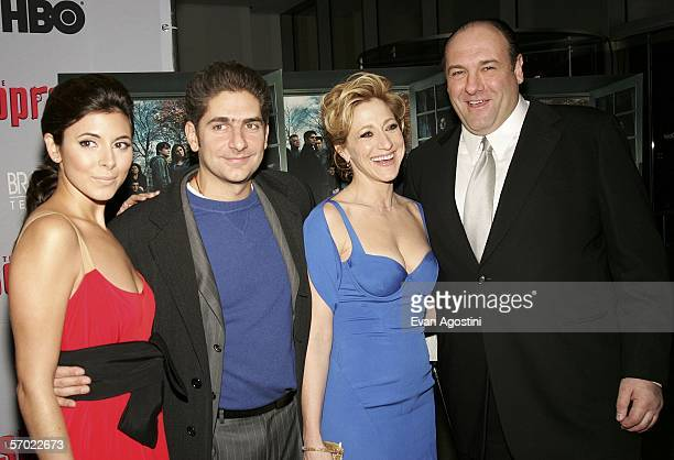 Cast members JamieLynn Sigler Michael Imperioli Edie Falco and James Gandolfini arrive at the HBO Season Premiere Of 'The Sopranos' at the Museum of...