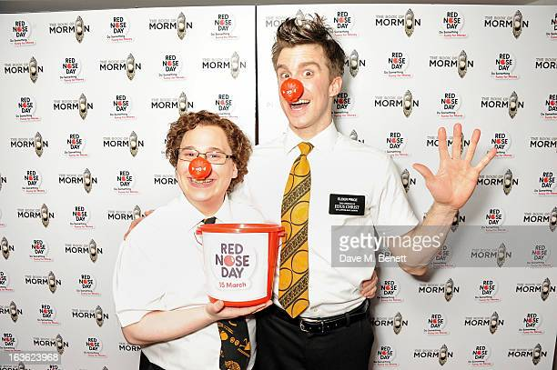 Cast members Jared Gertner and Gavin Creel attend a gala performance of 'The Book Of Mormon' in aid of Red Nose Day at the Prince Of Wales Theatre on...