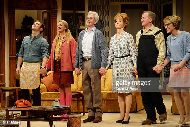 Cast members Jason Merrells, Tamzin Outhwaite, Nicholas Le Prevost, Jenny Seagrove, Matthew Cottle and Gillian Wright bow at the curtain call during...