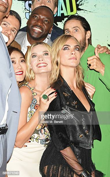 Cast members Jay Hernandez, Karen Fukuhara, Adewale Akinnuoye-Agbaje, Margot Robbie, Jared Leto and Cara Delevingne attend the European Premiere of...