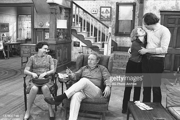 Cast members: Jean Stapleton as Edith Bunker, Carroll O'Connor as Archie Bunker, Sally Struthers as Gloria Bunker Stivic and Rob Reiner as Michael...