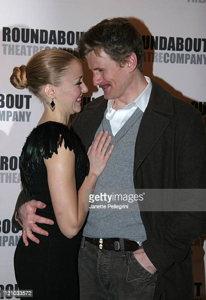Cast Members Jennifer Ferrin and Charles Edwards attend the Broadway opening night of 39 Steps at the American Airlines Theater on January 15 2008 in...