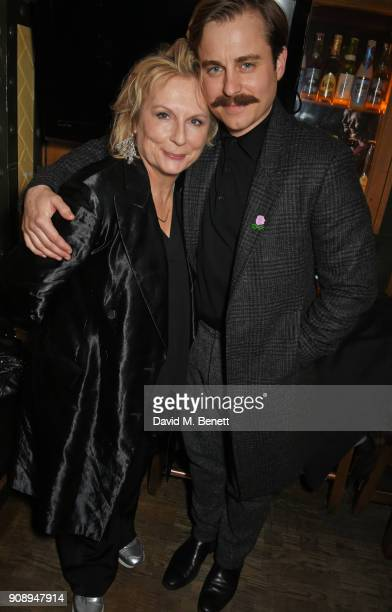 Cast members Jennifer Saunders and Kevin Bishop attend the press night after party for 'Lady Windermere's Fan' at The Porterhouse on January 22 2018...