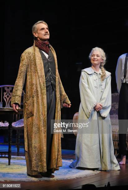 Cast members Jeremy Irons and Lesley Manville bow at the curtain call during the press night performance of 'Long Day's Journey Into Night' at...