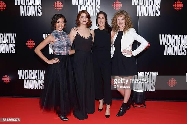 "Cast members Jessalyn Wanlim, Dani Kind, Catherine Reitman and Juno Rinaldi attend the CBC world premiere VIP screening of ""Workin' Moms"" at TIFF..."