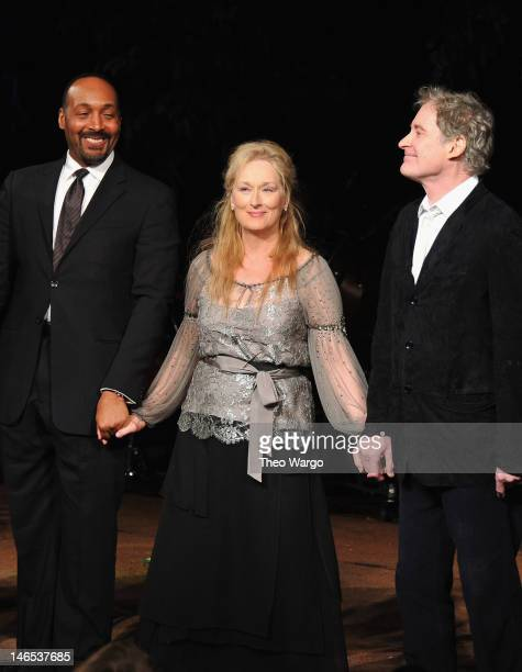 Cast members Jesse L Martin Meryl Streep and Kevin Kline pose for a curtain call after performance at the Public Theater 50th Anniversary Gala at...