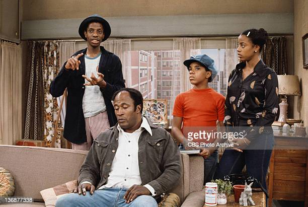Cast members Jimmie Walker , John Amos , Ralph Carter and BernNadette Stanis . 1975.