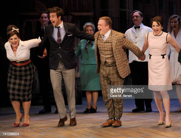 Cast members Jodie Prenger Ben Mansfield Owain Arthur and Gemma Whelan bow at the curtain call during the press night performance of 'One Man Two...