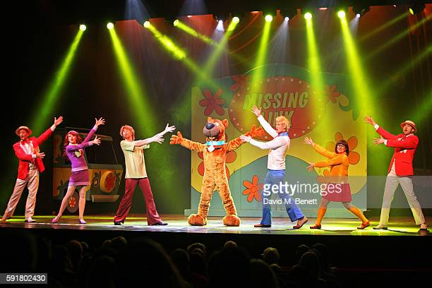Cast members John McManus Charlie Bull Charlie Haskins ScoobyDoo Chris Warner Drake Rebecca Withers and Martin Neely attend the press night curtain...