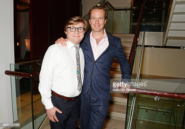 """Cast members Jonathan Broadbent and Geoffrey Streatfeild attend an after party following the press night performance of """"My Night With Reg"""", playing..."""