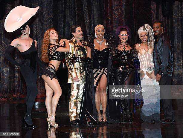 Cast members Jordan McHenry Agnes Roux and Antonio Drija actress NeNe Leakes and cast members Corinne Zarzour Paris Red and Eliot Douglas pose after...