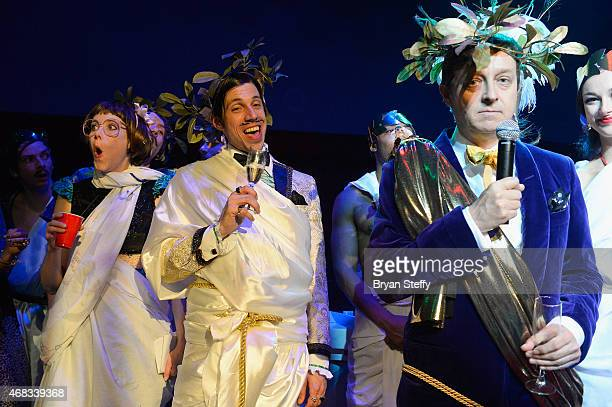 ABSINTHE cast members Joy Jenkins appears and The Gazillionaire appear on stage while producer Ross Mollison speaks to attendees during ABSINTHE's...