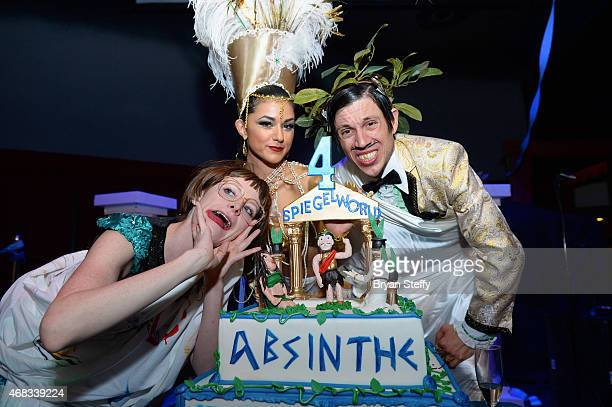 'ABSINTHE' cast members Joy Jenkins Melody Sweets and The Gazillionaire attend the show's fourth anniversary party at Caesars Palace on April 1 2015...