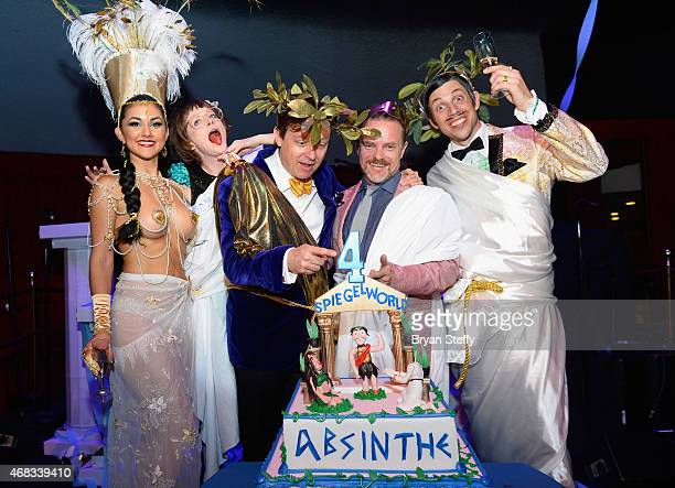 'ABSINTHE' cast members Joy Jenkins Melody Sweets producers Ross Mollison and David Foster and cast member The Gazillionaire attend the show's fourth...