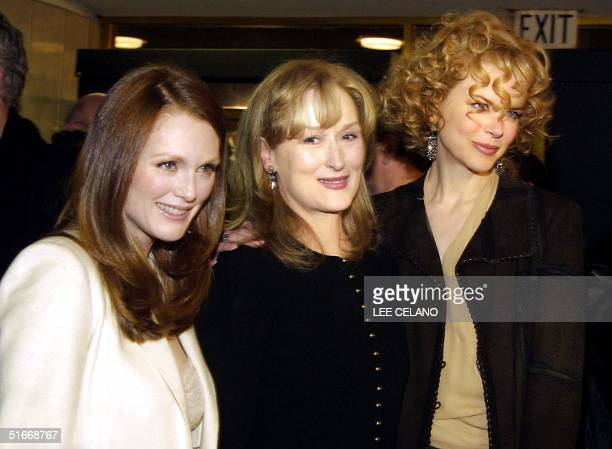 Cast members Julianne Moore Meryl Streep and Nicole Kidman pose for a group portrait after arriving for the premiere of the film The Hours 18...
