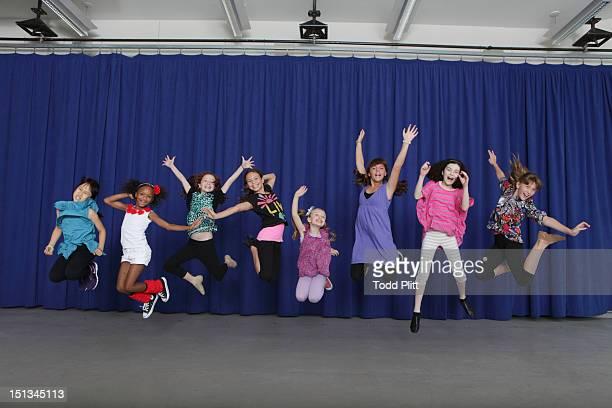Cast members Junah Jang Tyrah Skye Odoms Taylor Richardson Madi Rae Dipietro Emily Rosenfeld Georgi James Lilla Crawford and Jaidyn Young from the...