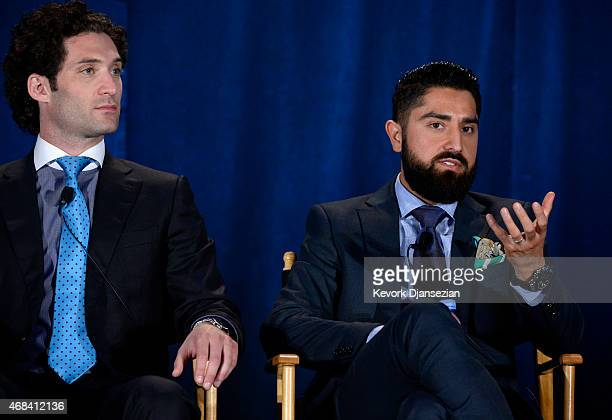 Cast members Justin Fichelson and Roh Habibi participate in a panel of Million Dollar Listing San Francisco during NBCUniversal Summer Press Day on...