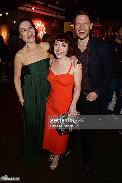 Cast members Kate Fleetwood Daisy Lewis and James Norton attend the press night performance of 'Bug' at Found111 on March 29 2016 in London England