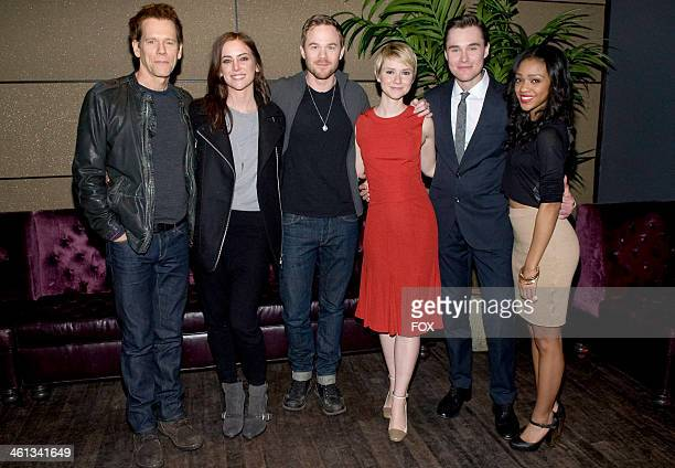 Cast members Kevin Bacon Jessica Stroup Shawn Ashmore Valorie Curry Sam Underwood and Tiffany Boone attend the premiere episode of The Following on...