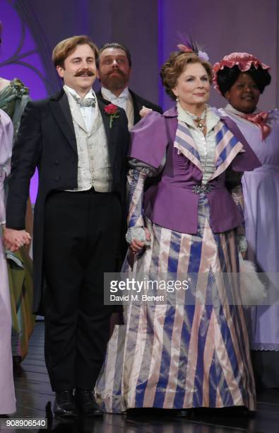 Cast members Kevin Bishop and Jennifer Saunders bow at the curtain call during the press night performance of Lady Windermere's Fan at Vaudeville...