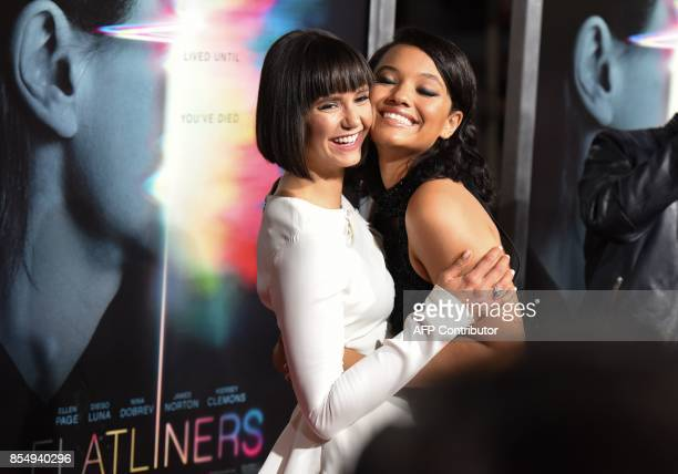 Cast members Kiersey Clemons and Nina Dobrev arrive for the world premiere of Columbia Pictures' Flatliners September 27 2017 at The Theatre at the...