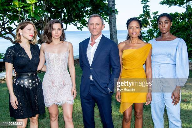 Cast members Léa Seydoux Ana de Armas Daniel Craig Naomie Harris and Lashana Lynch attend the Bond 25 Film Launch at Ian Fleming's Home GoldenEye on...