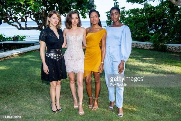 Cast members Léa Seydoux Ana de Armas Naomie Harris and Lashana Lynch attend the Bond 25 Film Launch at Ian Fleming's Home GoldenEye on April 25 2019...
