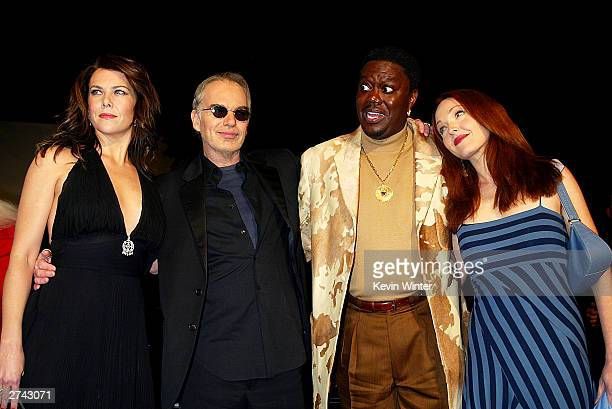 "Cast members Lauren Graham, Billy Bob Thornton, Bernie Mac and Amy Yasbeck pose at the premiere of ""Bad Santa"" at the Bruin Theater on November 18,..."