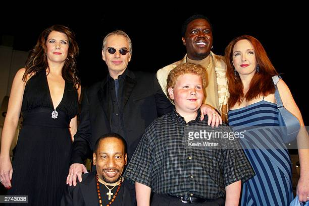 "Cast members Lauren Graham, Billy Bob Thornton, Tony Cox, Brett Kelly, Bernie Mac and Amy Yasbeck pose at the premiere of ""Bad Santa"" at the Bruin..."