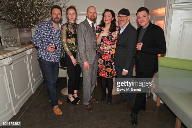 Cast members Lee Mack Ellie White director Sean Foley Katy Wix Griff Rhys Jones and Mathew Horne attend the press night after party for 'The Miser'...