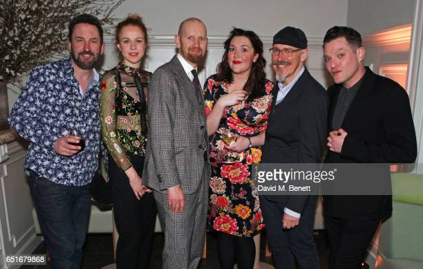 Cast members Lee Mack Ellie White director Sean Foley Katy Wix Griff Rhys Jones and Mathew Horne attend the press night after party for The Miser at...