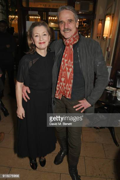 Cast members Lesley Manville and Jeremy Irons attend the press night after party of 'Long Day's Journey Into Night' at Browns on February 6 2018 in...