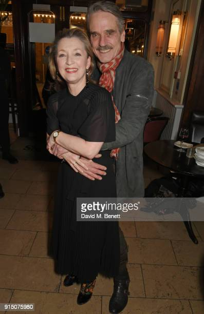 Cast members Lesley Manville and Jeremy Irons attend the press night after party of Long Day's Journey Into Night at Browns on February 6 2018 in...