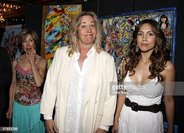 Cast members Lin Shaye Diane Delano and Angie Ruiz attend the Los Angeles premiere of the comedy film Surf School on May 16 2006 at the Crest Theatre...