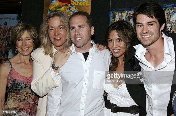 Cast members Lin Shaye Diane Delano Angie Ruiz and Corey Sevier pose with director Joel Silverman at the Los Angeles premiere of the comedy film Surf...