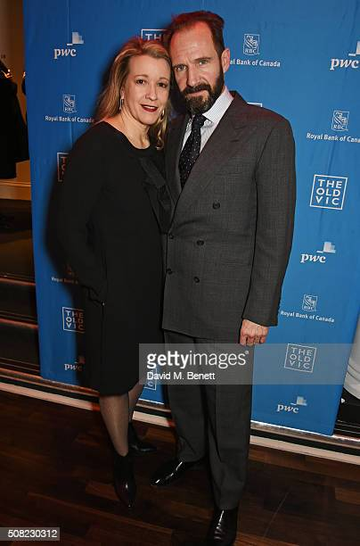 Cast members Linda Emond and Ralph Fiennes attend the press night after party for 'The Master Builder' at The Old Vic Theatre on February 3 2016 in...