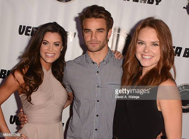 Cast members Lindsey Grubbs Brian Borello and Monika Tilling attend the movie premiere of Shooting The Warwicks at Arena Cinema Hollywood on August 7...