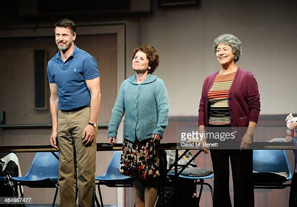 Cast members Lloyd Owen Imelda Staunton and Susan Brown bow at the curtain call during the press night performance of Good People at the Noel Coward...