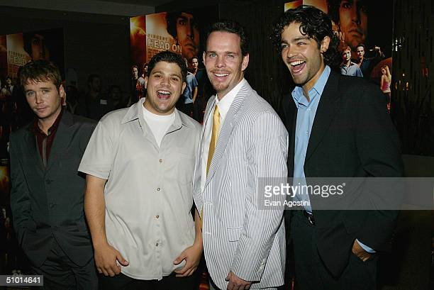 Cast members LR Kevin Connolly Jerry Ferrara Kevin Dillon and Adrian Grenier attend a premiere screening of HBO's new series Entourage at the Loews...