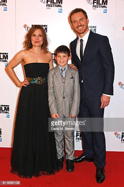 Cast members Lyndsey Marshal, Georgie Smith and Michael Fassbender attend the 'Trespass Against Us' screening during the 60th BFI London Film...