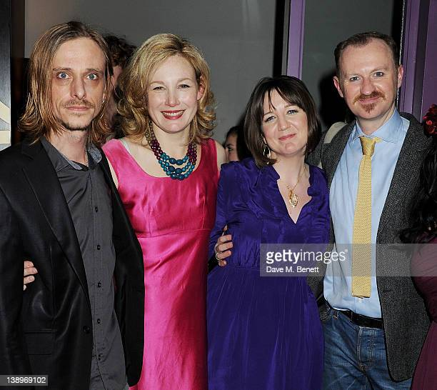 Cast members Mackenzie Crook Nancy Carroll Donmar artistic director Josie Rourke and Mark Gatiss attend an after party following the press night...