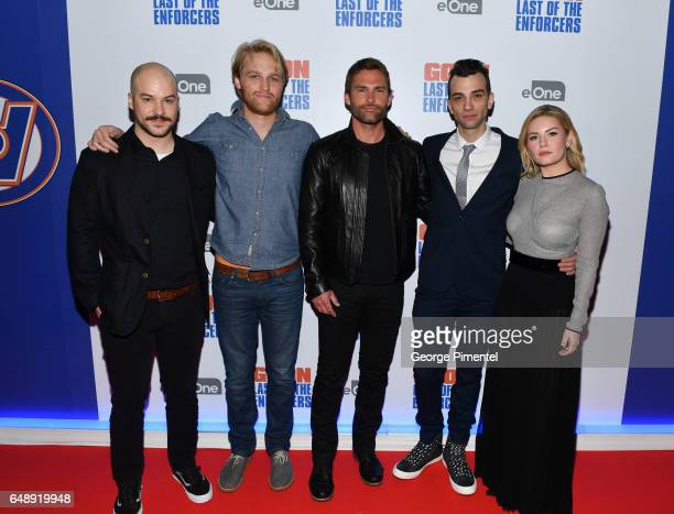 Cast Members MarcAndre Grondin Wyatt Russell Seann William Scott Jay Baruchel and Elisha Cuthbert attend Goon Last Of The Enforcers Premiere at...