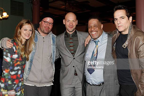 Cast members Marin Ireland Corey Stoll Cortez Nance and Yul Vazquez pose with director Noah Buschel at the after party for the premiere of Glass Chin...