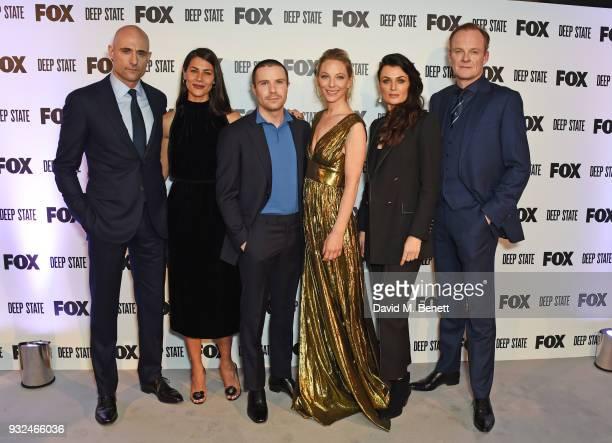 Cast members Mark Strong Karima McAdams Joe Dempsie Anastasia Griffith Lyne Renee and Alistair Petrie attend the Global Premiere of Deep State the...