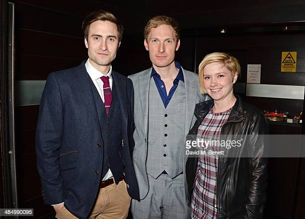 Cast members Martin Richardson Sam Hoares and Sally Hodgkiss attend an after party celebrating the press night performance of Relative Values at Mint...