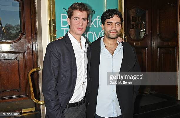 Cast members Matt Barber and Charlie De Melo pose at a photocall for a new stage adaptation of Truman Capote's 'Breakfast at Tiffany's' at the...